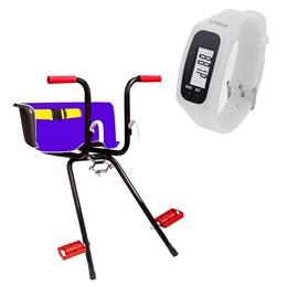 Cadeirinha Infantil Dianteira Azul Super Luxo + Relógio Pedômetro Branco LIVEUP