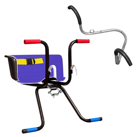 Cadeirinha Infantil Dianteira Luxo Azul + Suporte Parede 02 Bikes AL-70 Altmayer