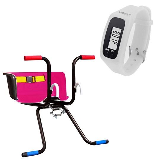 Cadeirinha Infantil Dianteira Luxo Rosa + Relógio Pedômetro Branco LIVEUP
