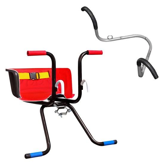 Cadeirinha Infantil Dianteira Luxo Vermelha + Suporte de Parede 02 Bikes AL-70