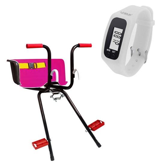 Cadeirinha Infantil Dianteira Rosa Super Luxo + Relógio Pedômetro Branco LIVEUP