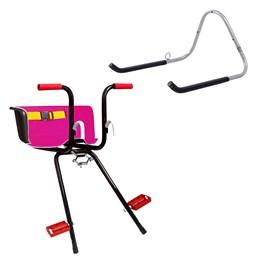 Cadeirinha Infantil Dianteira Rosa Super Luxo + Suporte Parede 1 Bike Altmayer