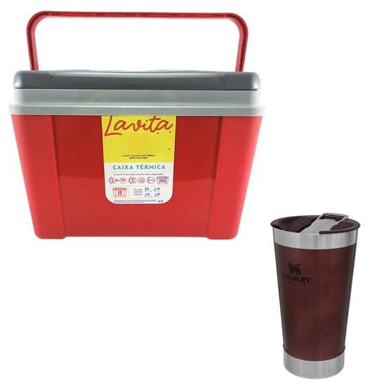 Caixa Térmica 12 Litros Lavita + Copo Térmico 473 ml com Tampa Wine Stanley