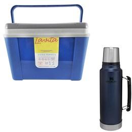 Caixa Térmica 12L Lavita Azul + Garrafa Térmica Stanley 1 Litro em Aço Inox