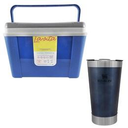 Caixa Térmica 12L Lavita + Copo Térmico de Cerveja Stanley 473 ml com Tampa Azul