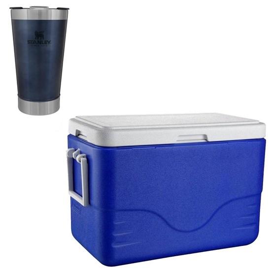Caixa Térmica 26,5L Coleman + Copo Térmico de Cerveja Stanley 473ml Azul