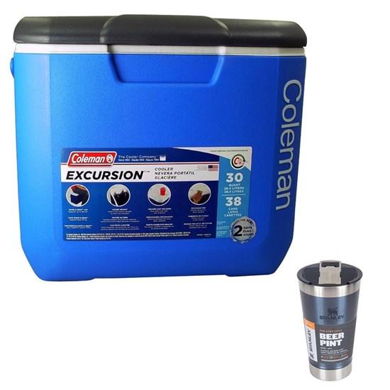 Caixa Térmica 28,4L Coleman + Copo Térmico de Cerveja Stanley 473ml Azul