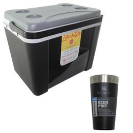 Caixa Térmica 34 Litros Lavita + Copo Térmico de Cerveja Stanley 473 ml Preto