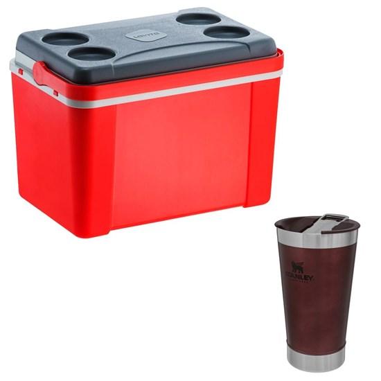 Caixa Térmica 34 Litros Lavita Vermelha + Copo Térmico 473 ml com Tampa Stanley
