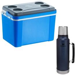 Caixa Térmica 34L Lavita Azul + Garrafa Térmica Stanley Classic 1L em Aço Inox
