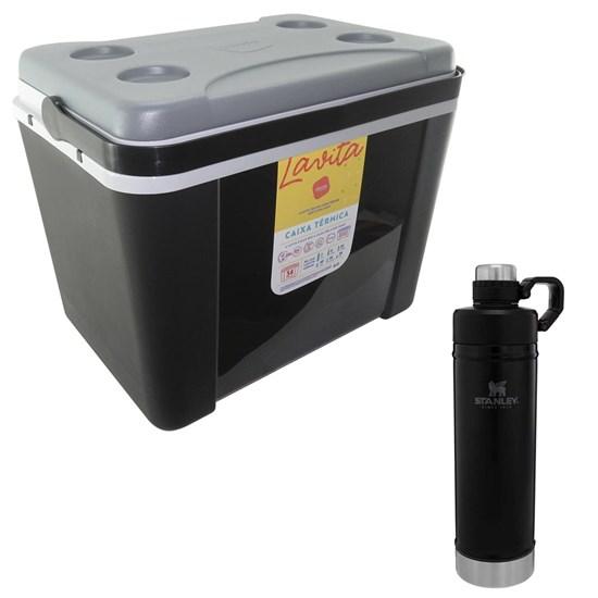 Caixa Térmica 34L Lavita + Garrafa Térmica Stanley 750ml Classic Hydration Inox