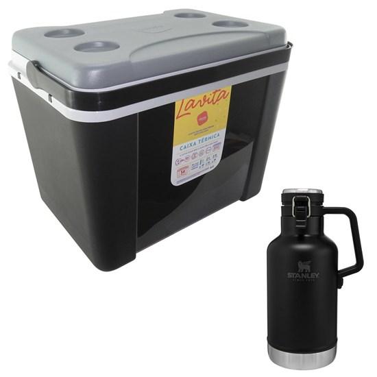 Caixa Térmica 34L Lavita Preta + Growler Térmico Stanley Garrafa 1,9L Preto