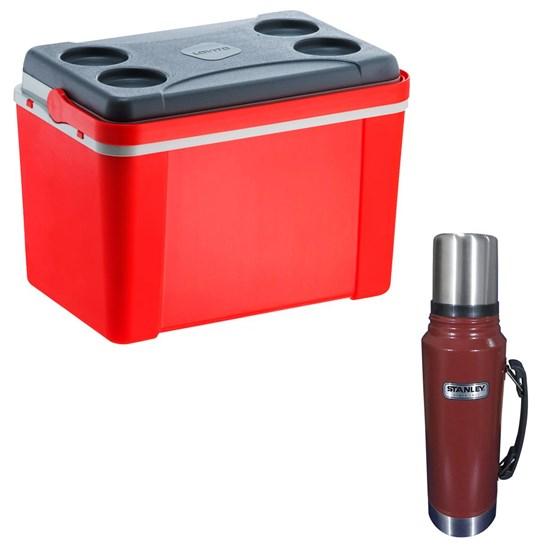 Caixa Térmica 34L Lavita Vermelha + Garrafa Térmica Stanley Classic 1L Aço Inox