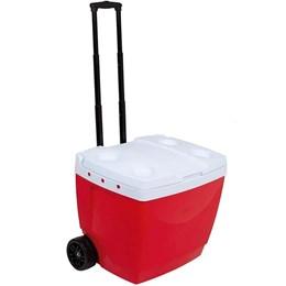 Caixa Térmica 42 Litros MOR 25108222 com Alça e Rodas Vermelha