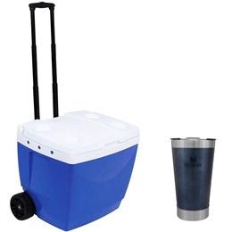 Caixa Térmica 42L MOR + Copo Térmico de Cerveja Stanley 473 ml com Tampa Azul