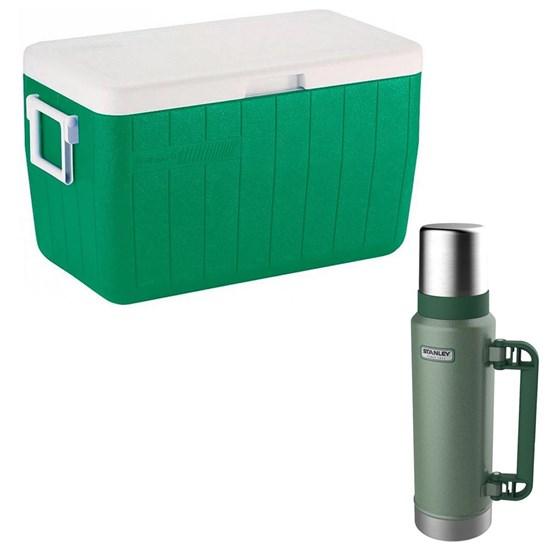 Caixa Térmica 45,4L Coleman 48QT + Garrafa Térmica Stanley 1,3L Hammertone Green
