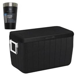 Caixa Térmica 45,4L Coleman All Black + Copo Térmico Cerveja Stanley 473ml Preto