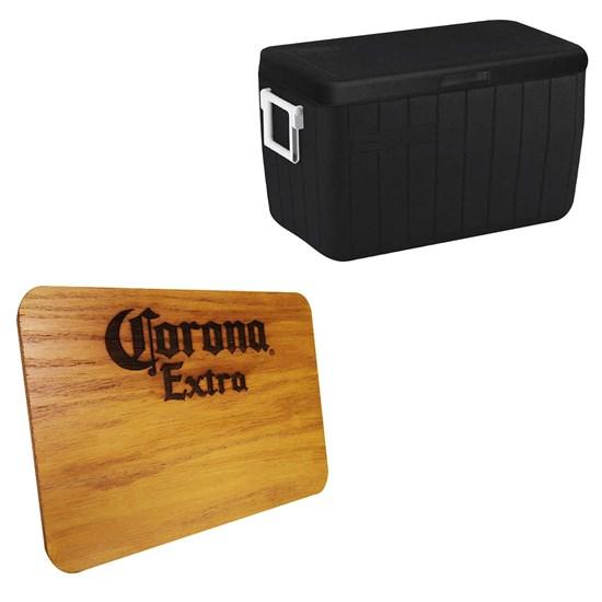 Caixa Térmica 45,4L com Alça Coleman + Tábua Madeira Corona Extra 24,5 x 17,5 cm
