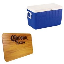 Caixa Térmica 48 QT com Alças 45,4 Litros Azul Coleman + Tábua de Madeira