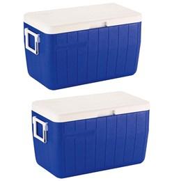 Caixa Térmica 48 QT Tampa Articulada 45,4 Litros Azul 2 Unidades Coleman