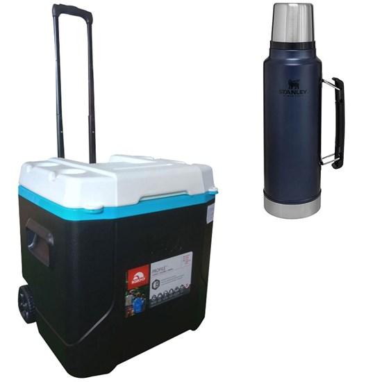 Caixa Térmica 51L Igloo com Alça e Rodas + Garrafa Térmica Stanley 1L Inox Azul