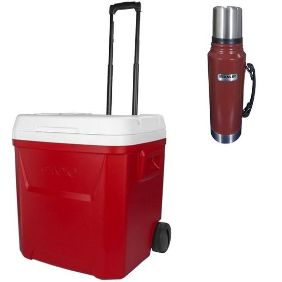 Caixa Térmica 56L Igloo 60QT + Garrafa Térmica Stanley 1L Aço Inox Vermelha
