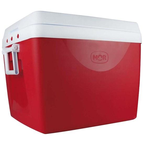 Caixa Térmica Cooler 75 Litros Mor Para 110 Latas 350ml, Com Alças Laterais, Porta Copos e Divisória - Vermelha