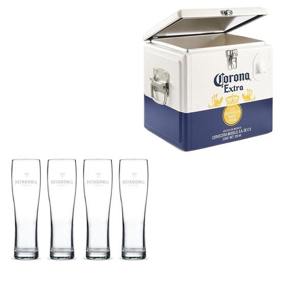 Caixa Térmica Corona 15 Litros + 4 Copos de Cerveja Madson Patagonia 500 ml