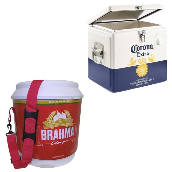 Caixa Térmica Corona 15 Litros + Cooler Térmico Brahma Brasil 20 Litros