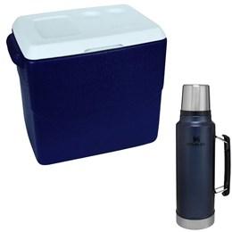 Caixa Térmica Glacial 40L MOR + Garrafa Térmica Stanley Classic 1L Aço Inox Azul