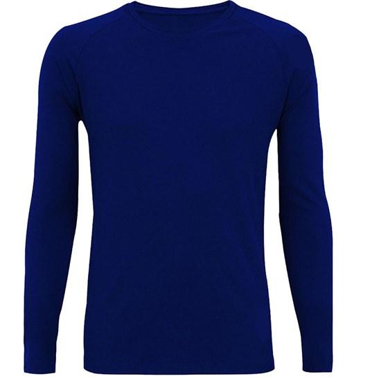 Camiseta Manga Longa Masculina King Brasil King Sun Brazil UV Protection Azul