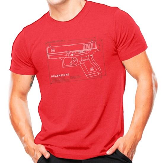 Camiseta Masculina Atack Militar Glock G43 Vermelha Airsoft