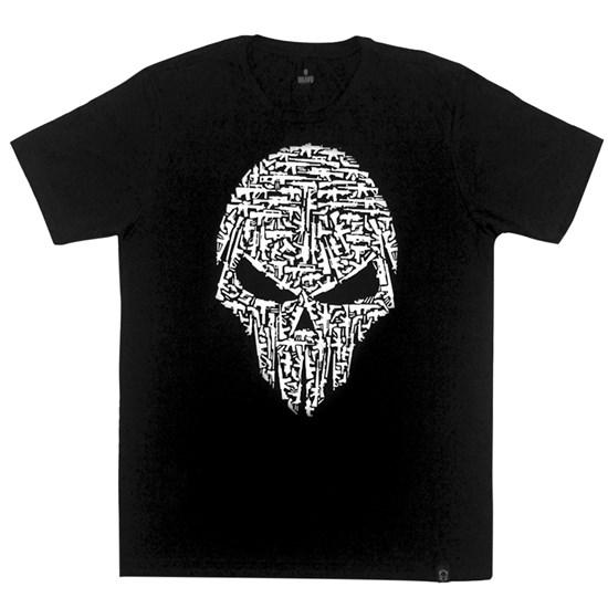 Camiseta Masculina Bravo Caveira Armas Preta  Airsoft