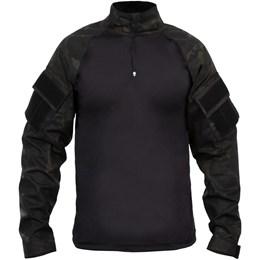 Camiseta Tática Manga Longa Bravo Combat Shirt com Proteção UVA e UVB Multicam Black Airsoft