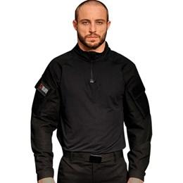 Camiseta Tática Manga Longa com Proteção UVA e UVB Bravo Combat Shirt Preta Airsoft