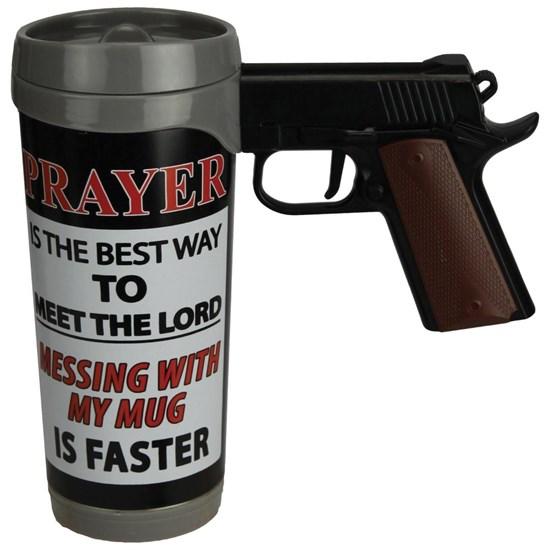 Caneca com Cabo de Pistola 470 ml e Tampa Removível Pistol Mug