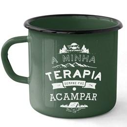 Caneca em Ferro Esmaltado Estampada Camping Terapia Guepardo UC0702