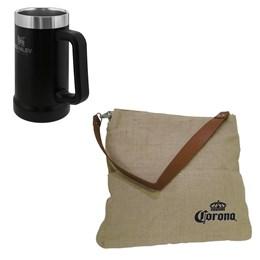 Caneca Térmica de Cerveja Stanley 709ml Preta + Bolsa Corona Bag Multiuso