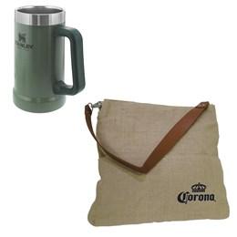 Caneca Térmica Stanley 709 ml Hammertone Green + Bolsa Corona Bag Multiuso