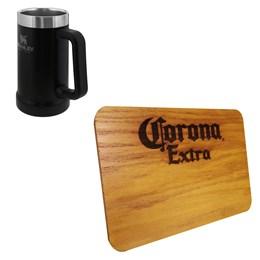 Caneca Térmica Stanley 709ml Preta + Tábua de Madeira 24,5 x 17,5cm Corona Extra