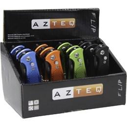 Canivete Flip Lâmina de Aço Inox e Trava de Segurança 12 Unidades - AZTEQ