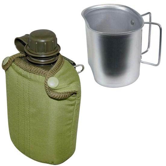Cantil de Plástico 0,9L com Capa Nautika + Caneca para Cantil Tático Guepardo