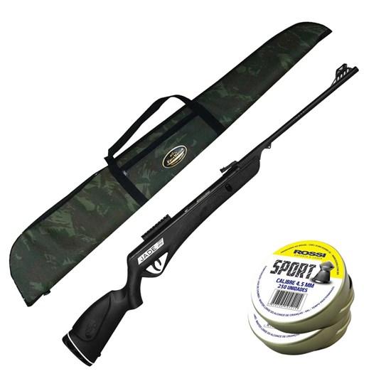 Carabina de Pressão CBC JADE PRO 4.5mm com Capa Rios e Mares 1,25m e 500 Chumbinhos