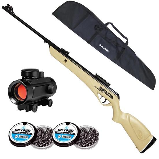 Carabina de Pressão CBC Jade PRO NITRO + Red Dot 11mm CBC 1 x 30 + Capa 1,25m + 250 Chumbinhos 5.5mm