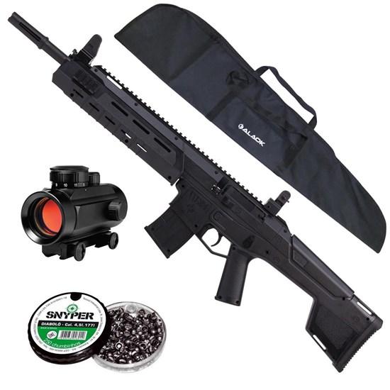 Carabina de Pressão MK-177 Crosman + Red Dot 11mm CBC 1 x 30 + Capa + 250 Chumbinhos 4.5mm