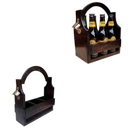 Cesta Porta Cervejas Artesanais Art Madeira até 3 Garrafas + Cesta Porta Cervejas Long Necks