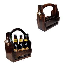 Cesta Porta Cervejas Long Necks Art Madeira até 6 Garrafas + Cesta Porta Long Necks com Divisória