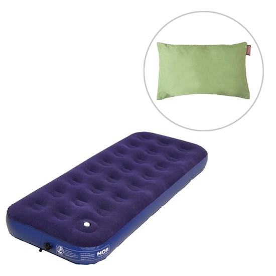 Colchão Inflável Solteiro com Inflador MOR + Travesseiro Dobrável Verde Coleman Fold N Go
