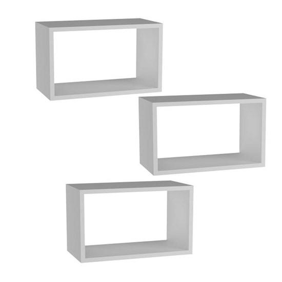 Conjunto 03 Nichos Decorativos Retangulares 50cm x 25cm em MDF Branco