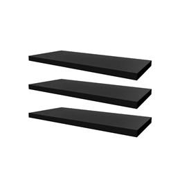 Conjunto 03 Prateleiras Decorativas de 50cm em MDF Preto para Decoração e Utilidades